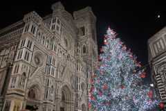 Albero Di Natale w piazza duomo, Florence Obrazy Royalty Free