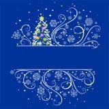 Albero di nuovo anno su una priorità bassa blu scuro Fotografia Stock