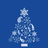 Albero di pino capriccioso di figure e di Paisley Fotografia Stock Libera da Diritti