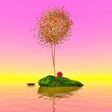 Albero di Pixelated su un'isola sola Fotografie Stock Libere da Diritti