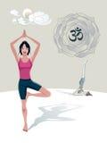 Albero di pratica Asana di yoga della donna Fotografia Stock Libera da Diritti