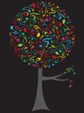 Albero di schiocco delle note musicali di colore illustrazione di stock
