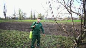 Albero di spruzzatura dell'agricoltore con lo spruzzatore manuale dell'antiparassitario contro gli insetti nel giardino di primav archivi video