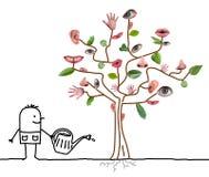 Albero di Watering Five Senses del giardiniere del fumetto Fotografia Stock