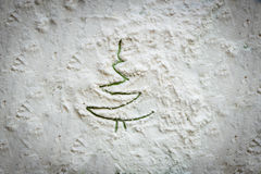 Albero dipinto su una struttura bianca Fotografia Stock