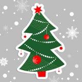 Albero disegnato a mano di Natale su fondo grigio Immagine Stock Libera da Diritti
