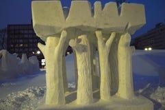 Albero distrutto nel festival giapponese Hokkaido della neve Fotografie Stock