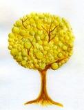 Albero dorato - acquerello Immagini Stock Libere da Diritti
