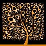 Albero dorato bello, figura quadrata Immagine Stock Libera da Diritti