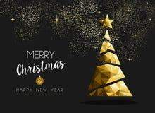 Albero dorato del triangolo del buon anno di Buon Natale Fotografia Stock Libera da Diritti