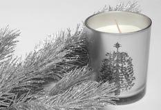 Albero e candela di abete Fotografia Stock Libera da Diritti