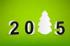 Albero e 2015 di natale bianco su verde Fotografia Stock Libera da Diritti