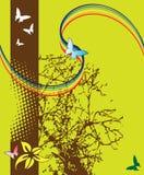 Albero e farfalle astratti Fotografia Stock