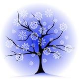 Albero e fiocchi di neve di inverno illustrazione vettoriale