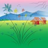 Albero e montagna astratti di vettore del paesaggio del fondo illustrazione vettoriale