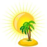 Albero ed il sole, vettore Fotografia Stock Libera da Diritti