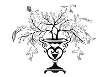 Albero ed uccelli di disegno Fotografie Stock