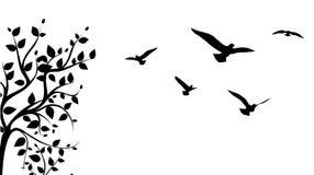 Albero ed uccello Fotografia Stock Libera da Diritti