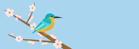 Albero ed uccello floreali della primavera illustrazione vettoriale