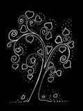 Albero elegante su un fondo nero con le foglie sotto forma di cuori royalty illustrazione gratis