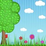 Albero, erba e fiori di carta su un fondo blu Fotografia Stock