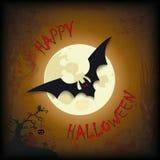 Albero felice del pipistrello della luna di Halloween Fotografie Stock