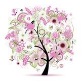 Albero floreale bello Fotografia Stock