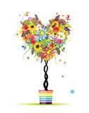 Albero floreale di estate, figura del cuore in POT illustrazione vettoriale
