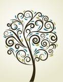 Albero floreale di turbinio decorativo, vettore Immagine Stock Libera da Diritti