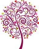 Albero floreale di turbinio decorativo, vettore Fotografia Stock Libera da Diritti