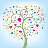 albero floreale e cuore Fotografia Stock Libera da Diritti