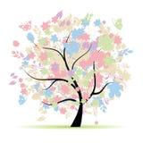 Albero floreale nei colori pastelli Fotografia Stock Libera da Diritti