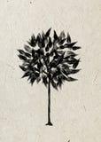 Albero fogliare di disegno su una carta di riso beige Immagine Stock Libera da Diritti