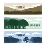 Albero Forest Banners Set Immagine Stock