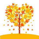 Albero a forma di di autunno del cuore Concetto di amore di caduta Immagini Stock