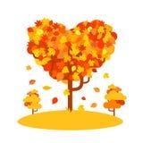 Albero a forma di di autunno del cuore Concetto di amore di caduta Immagine Stock Libera da Diritti