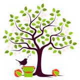 Albero, giocattoli ed uccello di fioritura Fotografie Stock