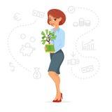 Albero grazioso dei soldi della tenuta della donna di affari illustrazione di stock