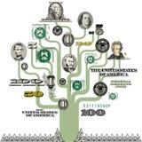 Albero illustrato dei soldi Immagini Stock