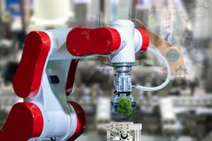 Albero industriale ambientale dell'albero del robot in futuro del braccio immagine stock libera da diritti