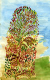 Albero lungo di autunno Immagine Stock