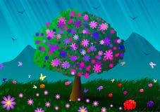 Albero, montagne e fiori di fioritura Immagine Stock Libera da Diritti