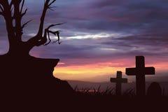 Albero morto della siluetta spaventosa Fotografia Stock