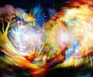 Albero nel fondo cosmico dello spazio Collage di colore Effetto di turbinio illustrazione vettoriale