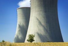 albero nell'ambito della centrale nucleare fotografia stock libera da diritti