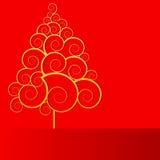 Albero riccio su colore rosso Immagini Stock Libere da Diritti