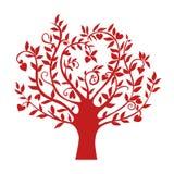 Albero rosso astratto del cuore, simbolo isolato della natura, segno della siluetta Fotografia Stock