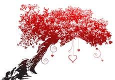 Albero rosso del cuore di amore della siluetta Fotografie Stock