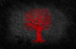 Albero rosso sul muro di cemento nero illustrazione di stock