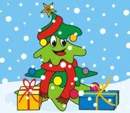 Albero-sciarpa di Natale Fotografia Stock